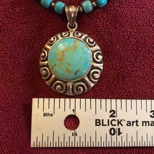 Studio Barse Jewelry - Studio Barse Turquoise & SS pendant w/beaded chain